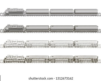 Set with a train with tanks. Polygonal train with fuel tanks on the rails. The wireframe of the train carrying fuel in tanks. Side view. 3D. Vector illustration.