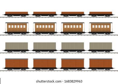 Set of train wagons vector illustration isolated on white background