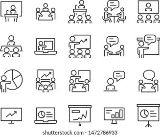 set of training icon, meeting, study, education, presentation, college