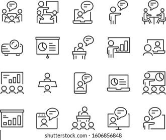 set of training icons, conference, seminar, meeting, presentation