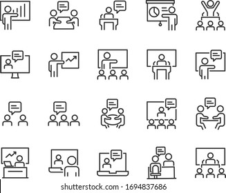 set of training icons, presentation, seminar, video conference