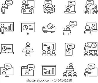 set of training icons, teaching, seminar, presentation, discussion