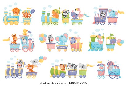Set of trains with animals. Vector illustration on a white background.