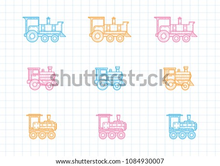Set Trains Color Locomotive Stock Vector Royalty Free