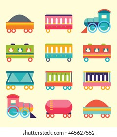 Set of trains. Toy style. Vector graphic