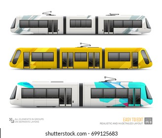 Set of Tram Train, Railway, Streetcar - vector mockup isolated on white. City Light rail train realistic template for branding identity and advertising design. City Electric transport Streetcar