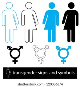 a set of transgender  icons and symbols for signage and web use.