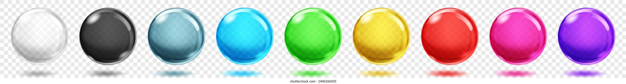 Set of translucent colored spheres with shadows on transparent background. Transparency only in vector format.