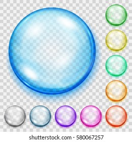 Set of translucent colored spheres with shadows on transparent background. Transparency only in vector file