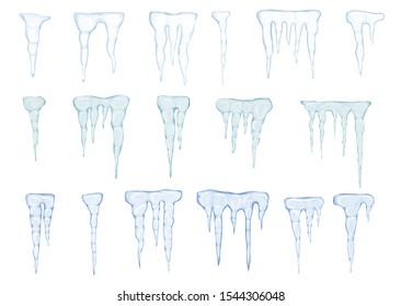 Set of translucent light blue icicles on white background. Vector illustration