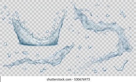 Set of transparent water splashes, water drops and crown from falling into the water in light blue colors, isolated on transparent background. Transparency only in vector file.