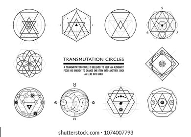 Set of Transmutation circles, alchemical symbol, sacred geometry, can be used in your design, the art of tattooing, the design of logos, corporate identity, as a poster or a badge.
