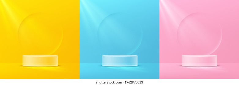 Set of transparency glass cylinder pedestal podium. Collection of pink, yellow, blue background with emboss circle shape. Vector rendering 3d shape product display presentation. Minimal wall scene.