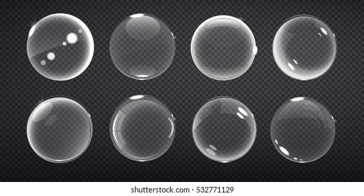 set  transparent balls. Buble on a transparent background. Vector illustration of soap bubbles on transparent background.