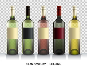 Set Of Transparent Bottles Wine Or Liquor Template For Alcohol Created With Gradient