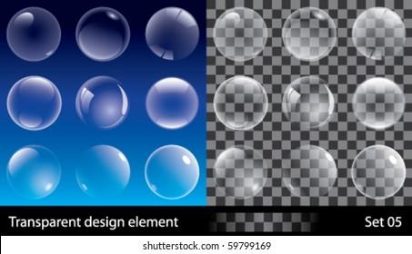 Set of transparent bubbles. Vector illustration for design.
