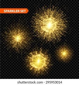 Set of transparent Christmas sparkler. Vector illustration EPS 10
