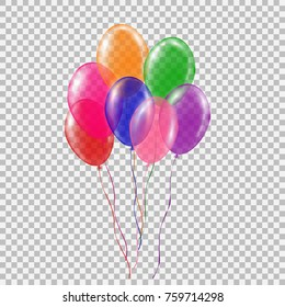 Set of transparent colorful helium balloon. Isolated vector illustration on plaid transparent background. Birthday baloon flying for party, celebrations, buisness and design.