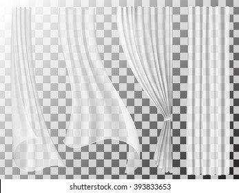 Set of transparent curtains different forms. Waving in the wind and hanging curtains for the window decoration.