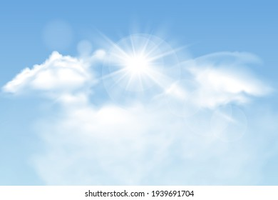Set of transparent different clouds with sun. Spring, summer isolated on blue background. Real transparency effect. Vector illustration