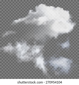 Set of transparent different clouds, vector illustration