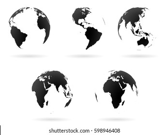 Set of transparent Earth globes. Black and white planet symbols. Graphic design elements for articles, prints, logo, icons. Vector illustration.