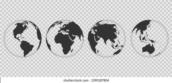 Set of transparent Earth globes. World map isolated on transparent background. Globe worldmap icon. Template design for worldwide travel, infographics or website.