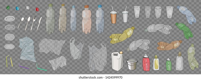 Set Of Transparent Empty Plastic Sorted Packaging.  Waste collection  isolated on white. Bottles and another garbage, non-recyclable trash illustration. Separate debris. Vector hand drawn collection.