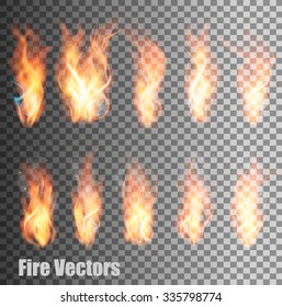 Set of transparent flame vectors.