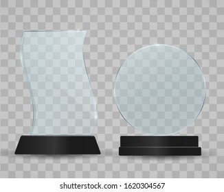 Set of transparent glass awards, trophy glass table display. plastic clear stand reflection shiny plates vector isolated template