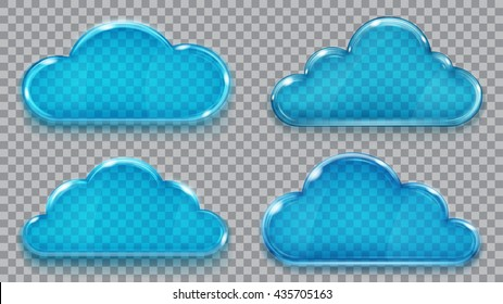 Set of transparent glass clouds in blue colors. Transparency only in vector format. Can be used with any background
