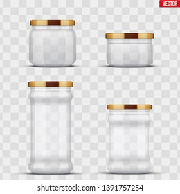 Set of Transparent Glass Jars for canning and preserving. Metal cover lid. Homemade kitchen conservation fruits and vegetables. Vector Illustration isolated on transparent background.