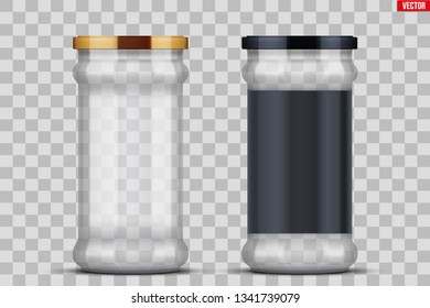 Set of Transparent Glass Jars with label for canning and preserving. Metal cover lid. Homemade kitchen conservation fruits and vegetables. Vector Illustration isolated on transparent background.