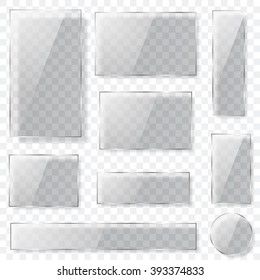 Set of transparent glass plates of different shapes in gray colors with shadows. Transparency only in vector format