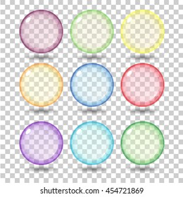 Set transparent glass sphere with glares and shadow. Vector illustration