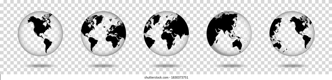 Set of transparent globes of Earth, realistic world map in globe shape with transparent texture and shadow