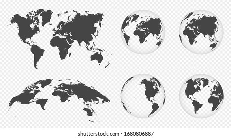 Set of transparent globes of Earth. World map template with continents. Realistic world map in globe shape with transparent texture and shadow. Abstract 3d globe icon. Vector