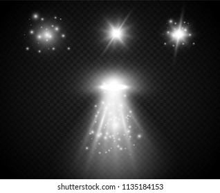 Set of Transparent Light Effects. Light Rays. Vector Illustration.