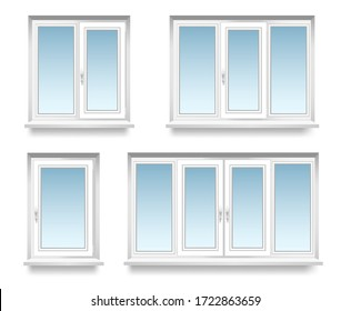 a set of transparent  metal-plastic windows double and triple. Energy cost saving easy to care plastic pvc window frames