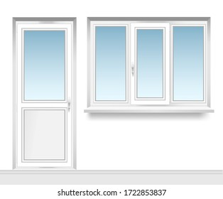 a set of transparent  metal-plastic windows with a plastic balcony door. Energy cost saving easy to care plastic pvc window frames