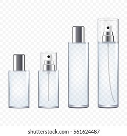 Set of Transparent Perfume Bottles, vector illustration