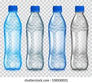 Set of transparent plastic bottles with mineral water. in gray and light blue colors. Transparency only in vector file