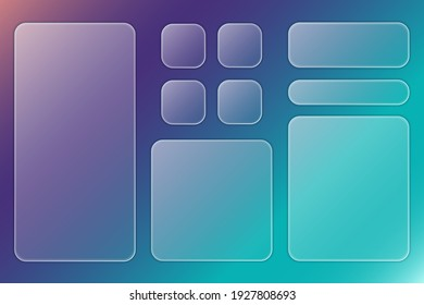 Set of transparent plates with place for text in trendy style glassmorphism or frosted glass on abstract multicolor background. For sites, applications, internet projects. Vector illustration.