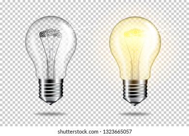 Set of transparent realistic light bulb with cogwheels, isolated.