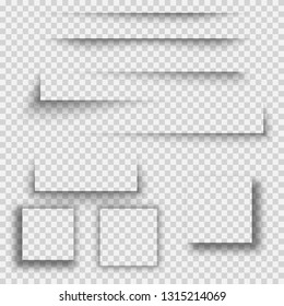 Set of transparent shadow with soft edges isolated. Set of square shadow. realistic shadows set for advertising banner templates.