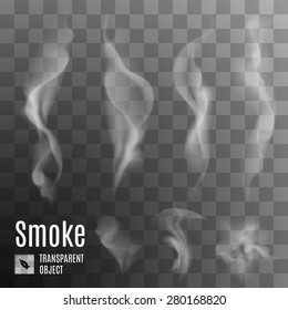 Set of transparent smoke on a plaid background