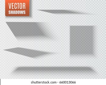 Set of transparent square shadow with soft edges isolated. Vector illustration