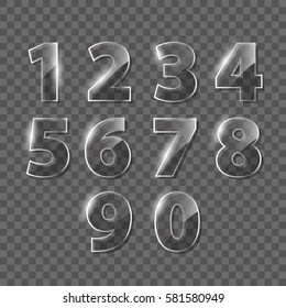 Set of transparent vector glass numbers, from 1 to 0.