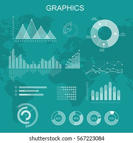 Set of transparent vector graphics. Curves fluctuations, column and pie diagrams on world map background. Global economy statistic information. Info elements for business, politics or social concepts