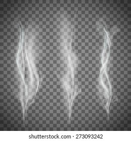 Set of transparent white smoke. Vector image.